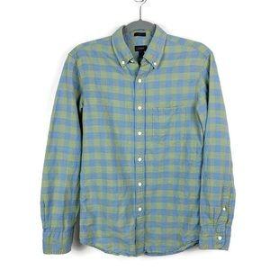 J. Crew Men's Slim Cotton Linen Shirt In Gingham S